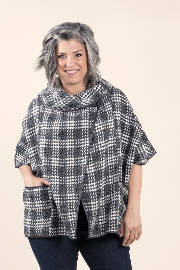 Plaid Poncho with Pleather trim, Charcoal, original image number 0