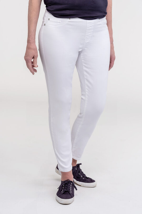 White Ankle Jegging with Front Faux Pockets, White, original image number 0