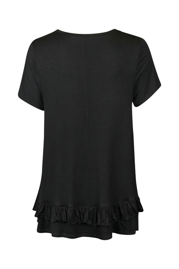 Bling Ruffle Hem Short Sleeve Shirt, Black, original image number 1