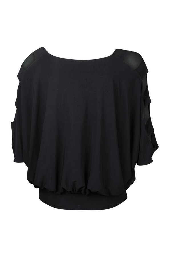 Dolman Sleeve with Banded Waist Top, Black, original image number 2