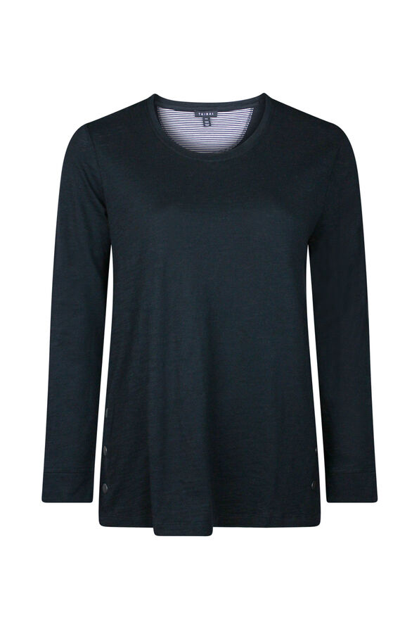 Cotton Crew Neck with Side Snaps, , original image number 0