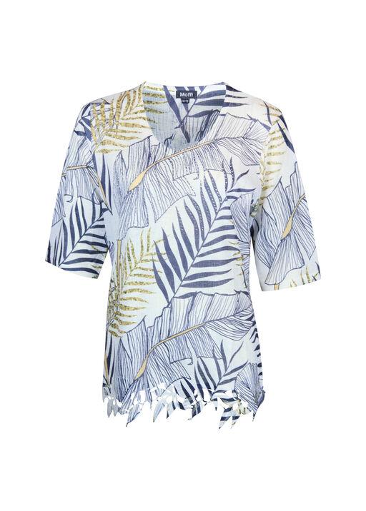 Gauzy Tropical Print Lace Hem with Hot Fix Gems, White, original
