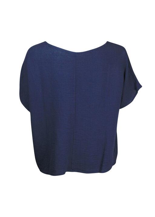 Cotton Short Sleeve Top with Wide Crew Neck  , Navy, original