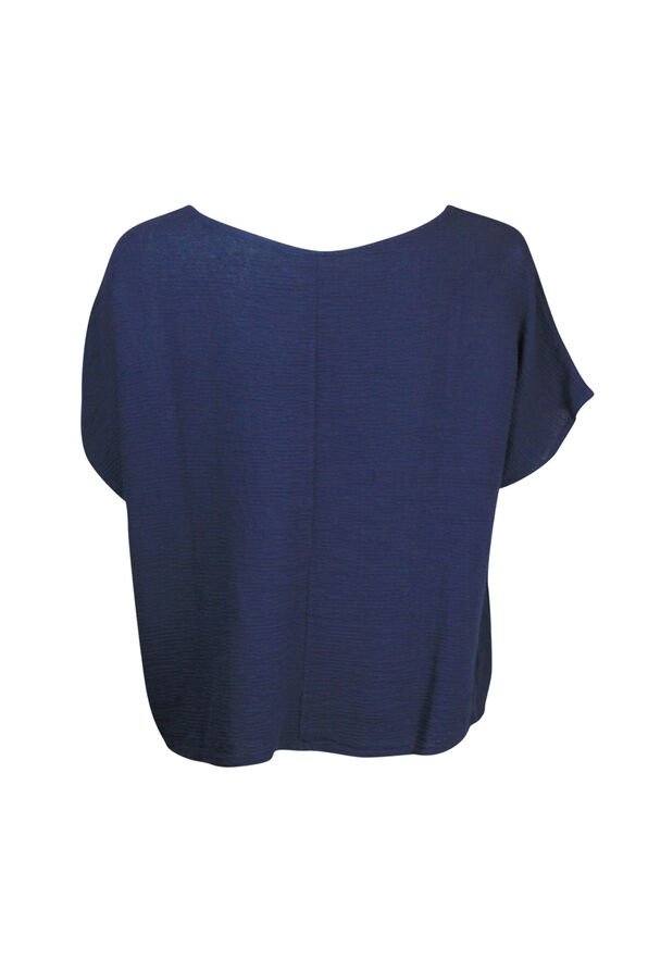 Cotton Short Sleeve Top with Wide Crew Neck  , Navy, original image number 1
