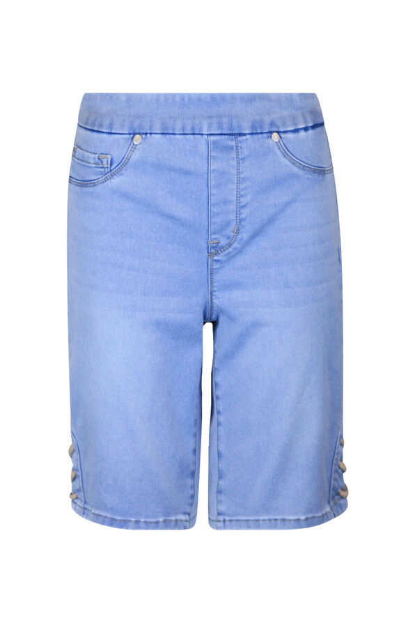 Pull-On Audrey Denim Shorts with Laced Detail, Blue, original image number 0