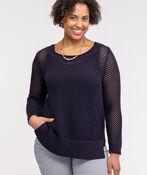 Crew Neck Open Stitch Sweater, Ink, original image number 0