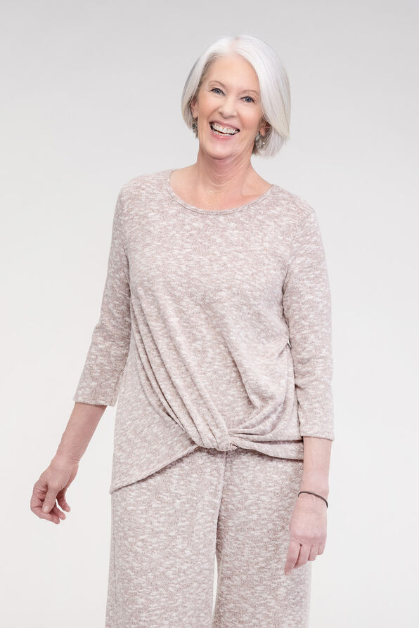 Cozy Knotted 3/4 Sleeve Top, , original image number 1