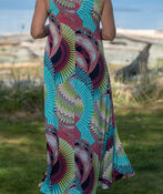 Geometric Print Sleeveless Maxi Dress, Coral, original image number 1