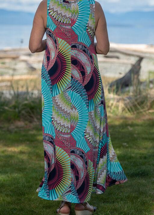 Geometric Print Sleeveless Maxi Dress, Coral, original