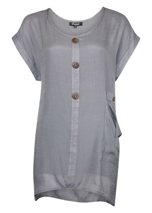 Cap Sleeve Top with Coconut Buttons, Grey, original