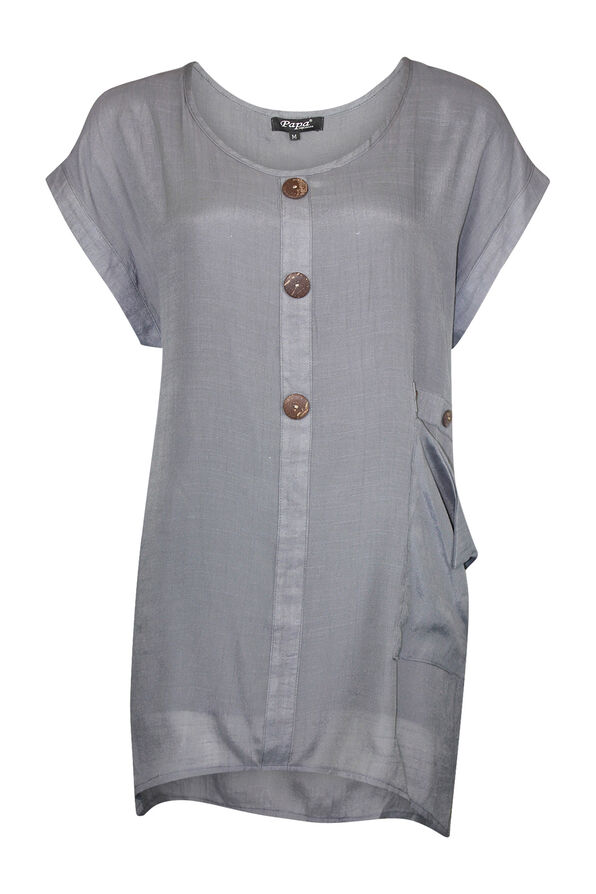 Cap Sleeve Top with Coconut Buttons, Grey, original image number 0