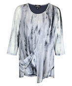 Graphite Print Mesh 3/4 Sleeve Top with Asymmetrical Hem, Grey, original image number 0