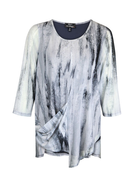 Graphite Print Mesh 3/4 Sleeve Top with Asymmetrical Hem, Grey, original