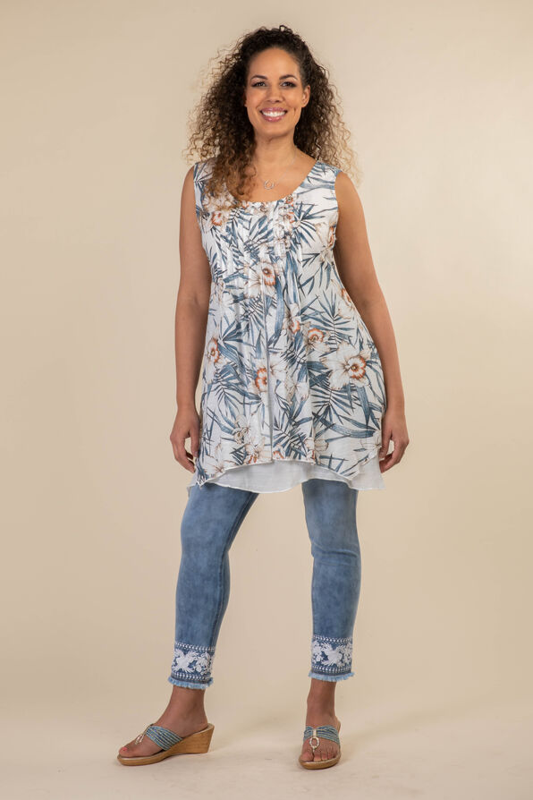 Layered Sleeveless Tunic, Denim, original image number 2