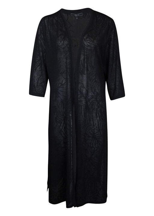 Sheer Long Cardigan with 3/4 Sleeve and  Leaf Embroidery, , original