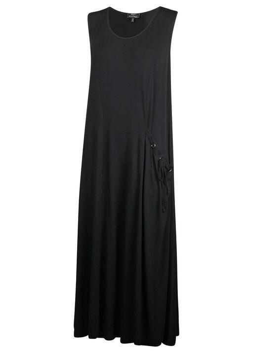 Sleeveless Midi Dress with Drawstring Pocket, Black, original