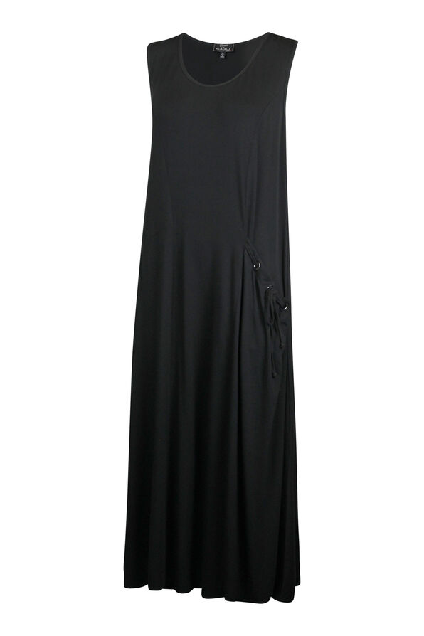 Sleeveless Midi Dress with Drawstring Pocket, Black, original image number 0