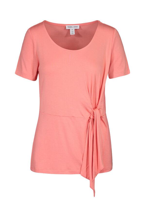 Front Tie Round Neck T-Shirt, Coral, original image number 2