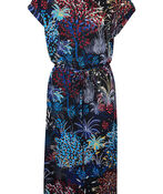 Printed Midi Dress with Rolled Cap Sleeve, Black, original image number 0