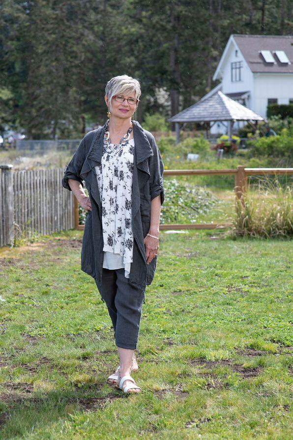 Linen Drape Front Jacket, , original image number 0