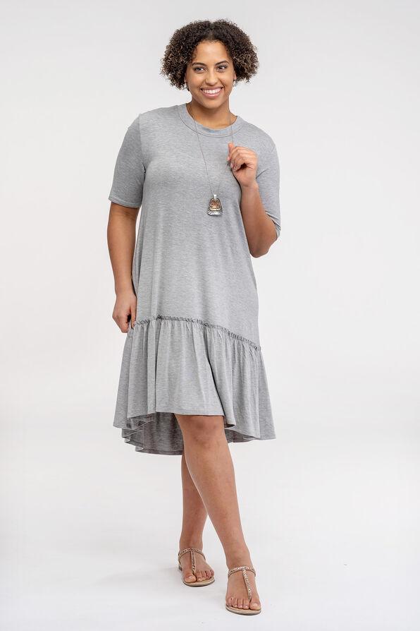 Short Sleeve T-Shirt Dress with Ruffle Hi-Lo Hem, Grey, original image number 0