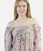 Off-the-Shoulder 3/4 Sleeve Ruffle Hem Top, Pink, original image number 1
