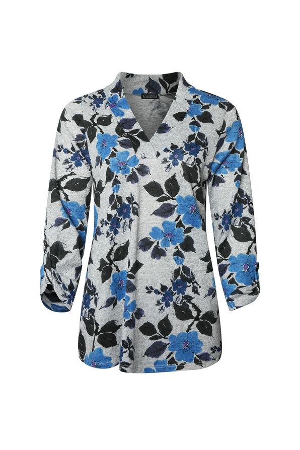 Floral Print V-Neck Sweater, Blue, original image number 0