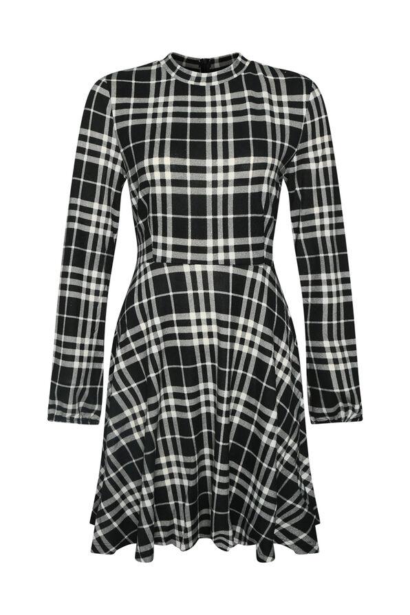 Plaid Sweater Dress , Black, original image number 0
