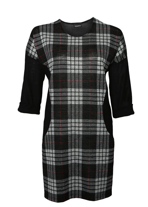 Patch Plaid Tunic with 3/4 Sleeves, , original