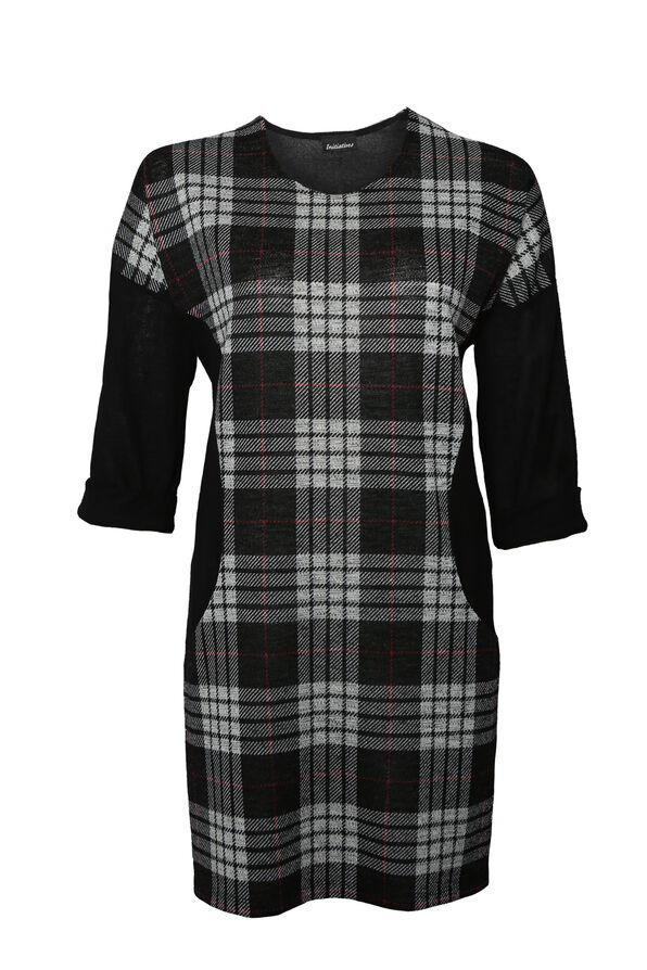 Patch Plaid Tunic with 3/4 Sleeves, Black, original image number 0