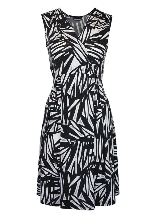 Sleeveless Fit and Flare Dress with Surplice Neckline, Black, original