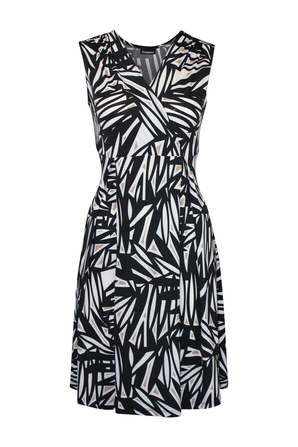 Sleeveless Fit and Flare Dress with Surplice Neckline, Black, original image number 0