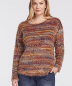 Space-Dye Eyelash Sweater, Rust, original image number 0