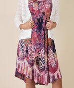 Sleeveless Embroidered Tie Dye Swing Dress, Pink, original image number 3