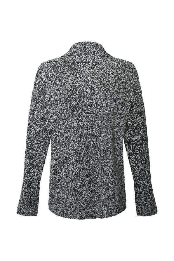 Asymmetrical Faux Wrap Turtle Neck Sweater, Black, original image number 1