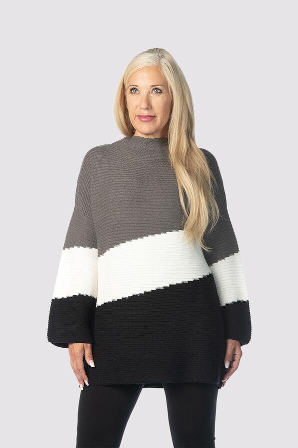 Posh Colorblock Sweater, Grey, original image number 0