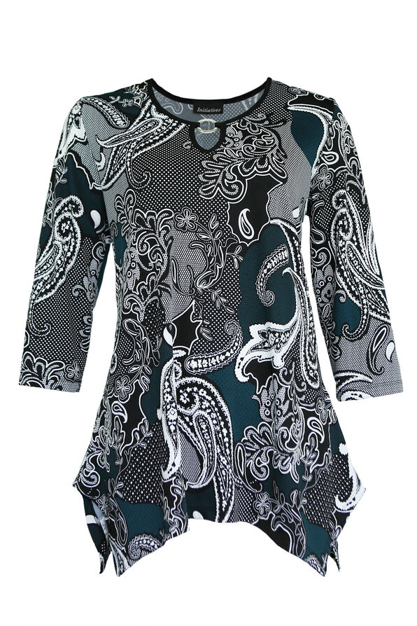 Paisley Print with Key Hole Neckline, , original image number 1