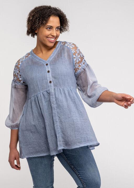 Lace Shoulder Peasant Blouse, , original