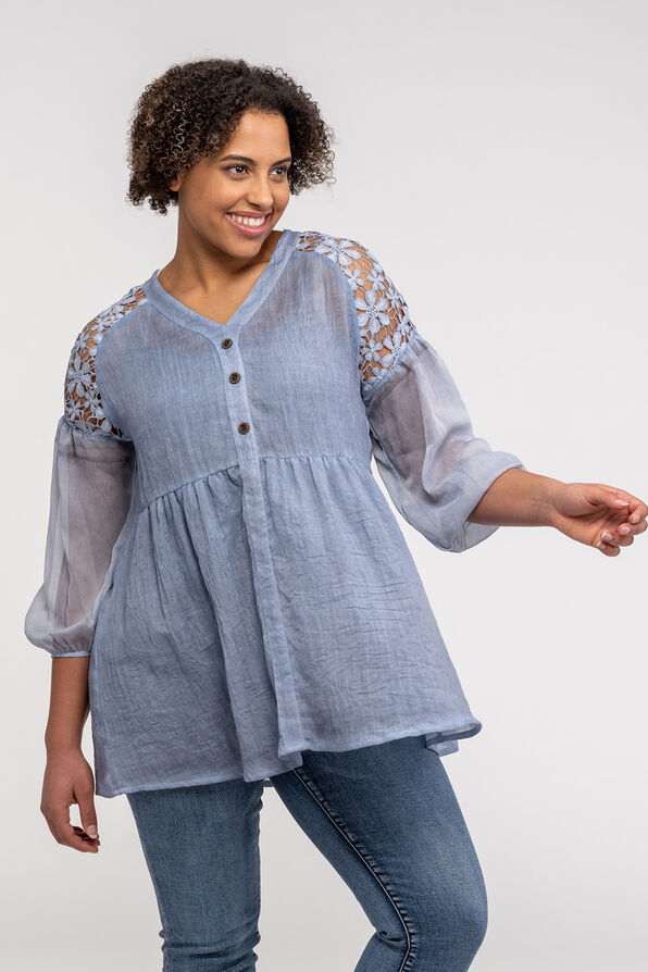 Lace Shoulder Peasant Blouse, , original image number 0