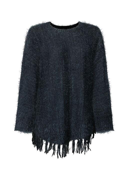 Eyelash Sweater with Fringe Hem, , original