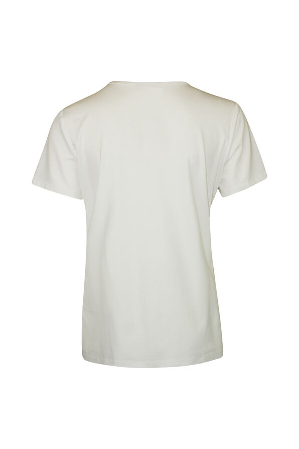 V-Neck T-Shirt with 3 Button Accent, Ivory, original image number 1