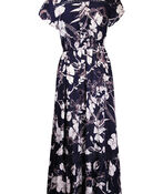 Empire Waist Midi Dress with Crochet Accents, Navy, original image number 2