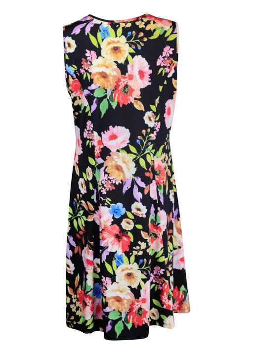 Sleeveless Floral Print Swing Dress, Black, original