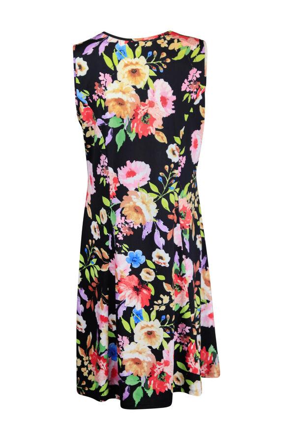 Sleeveless Floral Print Swing Dress, Black, original image number 1