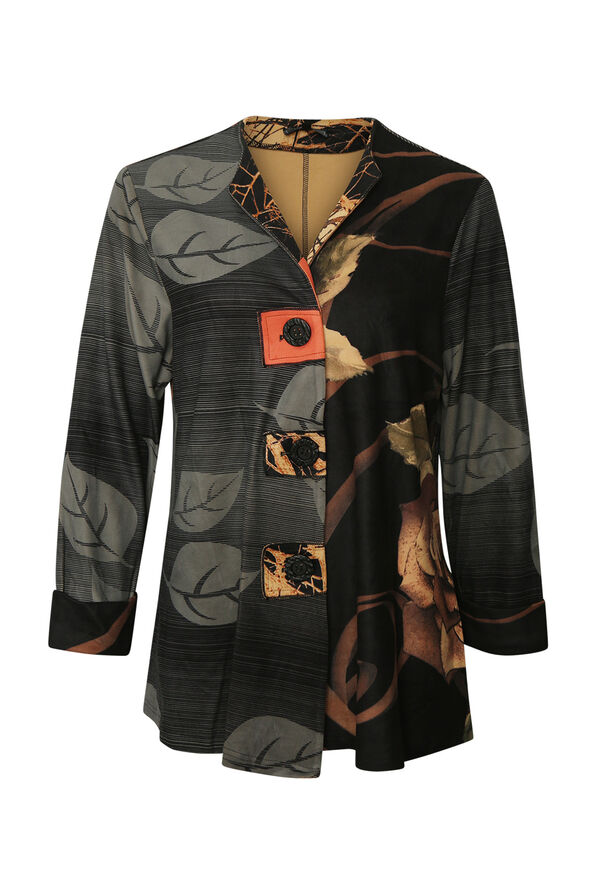 Leaf Print Jacket, Orange, original image number 0