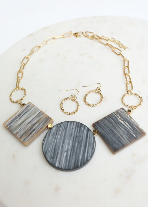Woodsy Statement Necklace Set, Gold, original