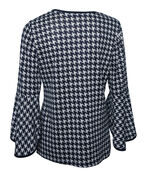 Houndstooth Top with Bell Sleeve, Navy, original image number 1
