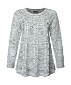 Pearl Dusted Cable Knit Sweater, Black, original image number 0