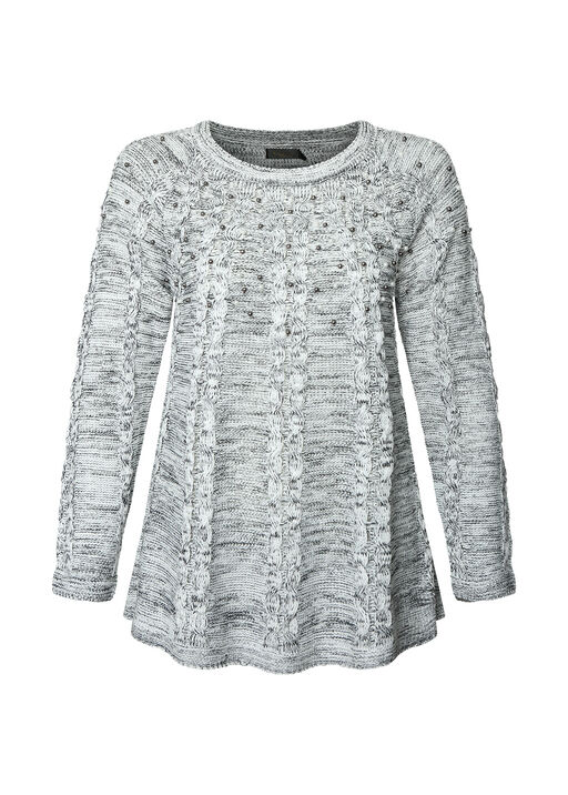 Pearl Dusted Cable Knit Sweater, Black, original