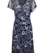 Mesh Flutter Sleeve Dress with Front Tie, Navy, original image number 0